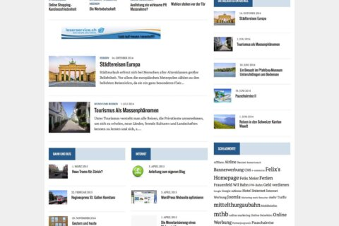 Felix's Homepage, Wordpress Startseite