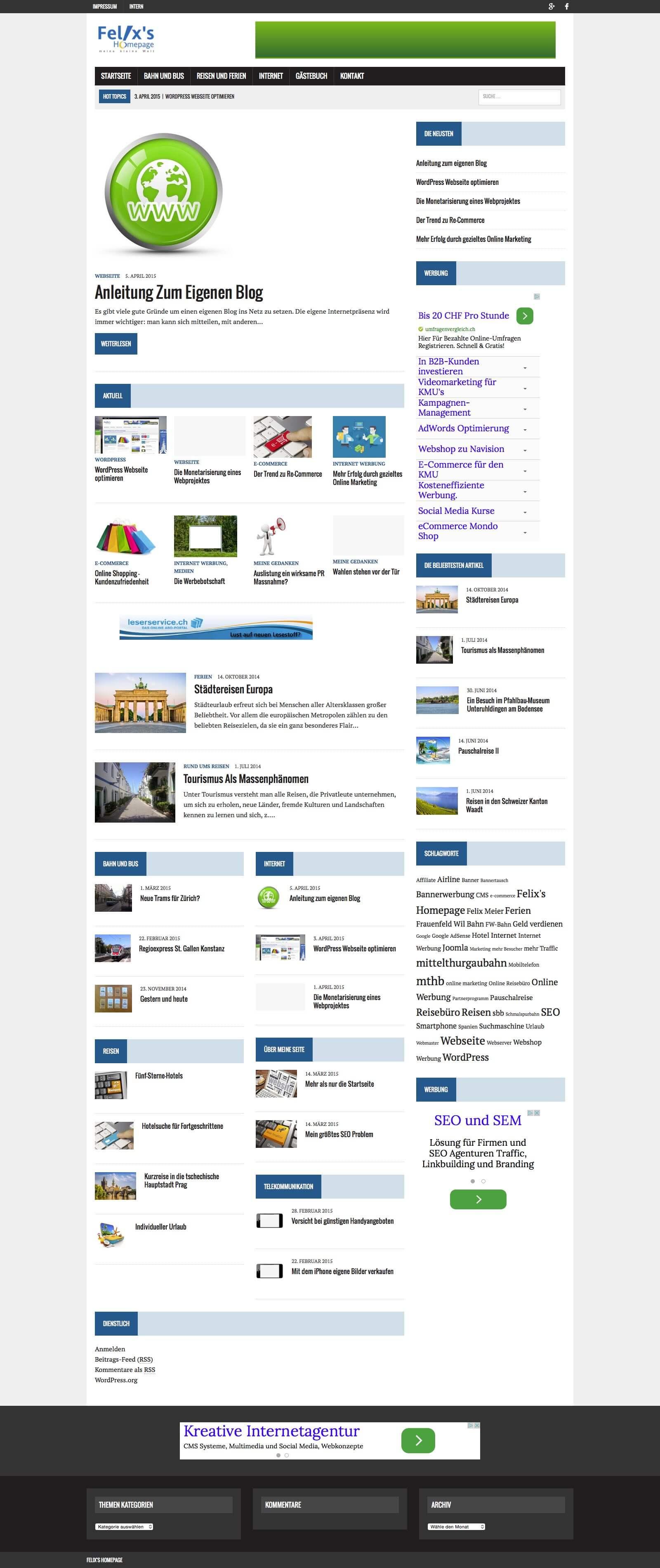 Startseite Felixs' Homepage April 2015